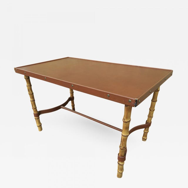 1950s Jacques Adnet Rare Bamboo and Hand Stitched Brow Leather Coffee Table For Sale - Image 5 of 5