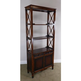 Hickory White Regency Style Mahogany Etagere Bookcase With Leather Preview