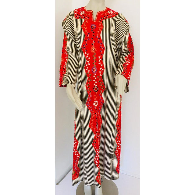 Vintage Middle Eastern Ethnic Caftan, Kaftan Maxi Dress For Sale - Image 9 of 13