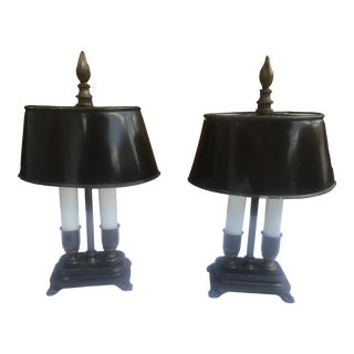 Pair 20th Century Bouillotte Lamps With Tole Shades - a Pair For Sale
