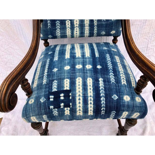 Antique Jacobean-Style Mahogany Mali Indigo Upholstered Armchair - Image 7 of 11