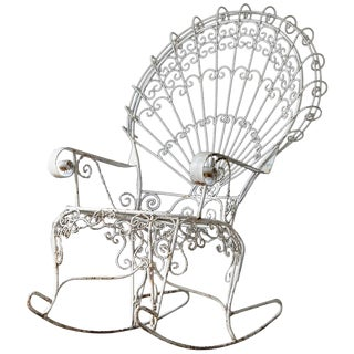 John Salterini Lawn Furnishing Wrought Iron Peacock Rocking Chair For Sale
