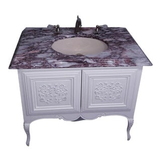 1950s Victorian Marble Top Vanity For Sale
