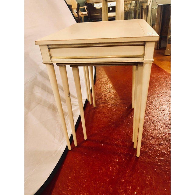 Set of Three White Painted Nesting / Stacking Tables Attributed to Jansen For Sale - Image 4 of 13