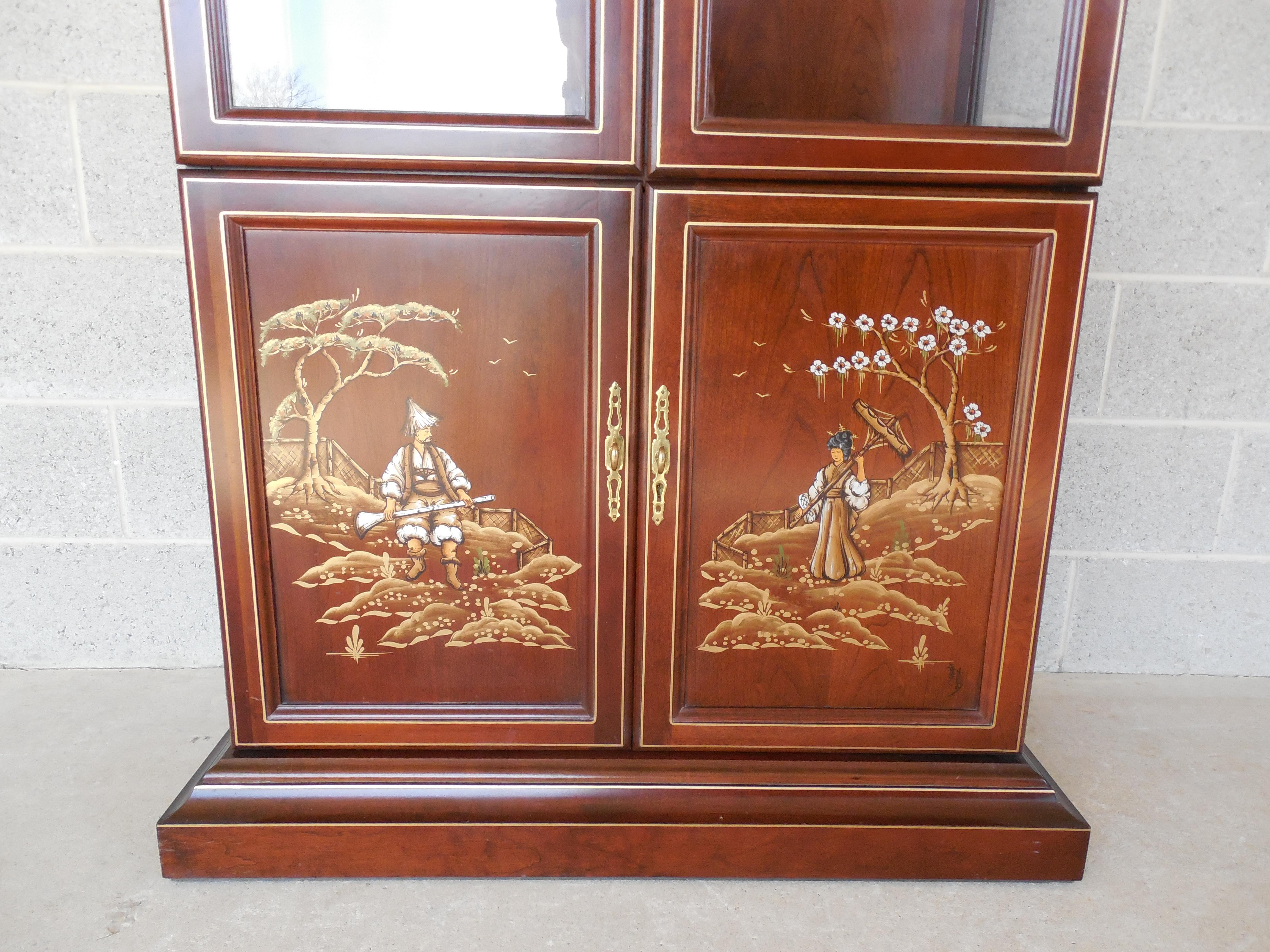 Wood Jasper Cabinet Chinoiserie Hand Paint Decorated 4 Door Lighted Curio  Cabinet For Sale   Image