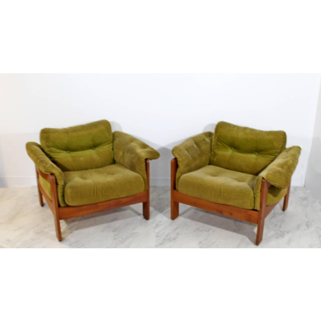 For your consideration is a pair of lounge chairs, on stunning wooden bases, with cushions that snap onto the chair by N....