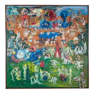 Large Format American Painting depicting the Garden of Earthly Delights 1970s