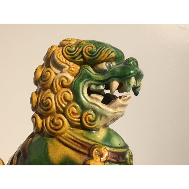 1920s Chinese Sancai Glazed Foo Lions - a Pair For Sale - Image 9 of 11