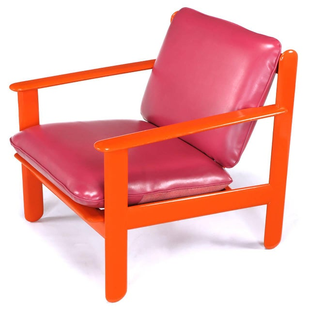 1970s Pair of Italian Persimmon and Magenta Lounge Chairs For Sale - Image 5 of 10