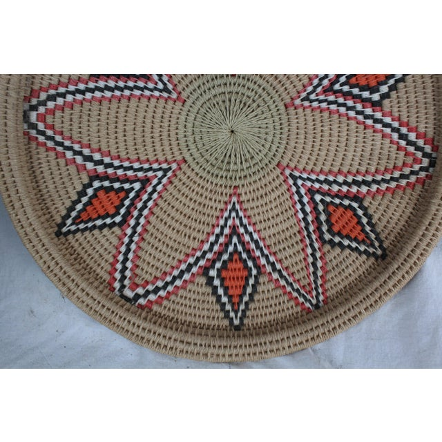 Vintage Mid-Century Tribal Woven Platter For Sale - Image 4 of 6