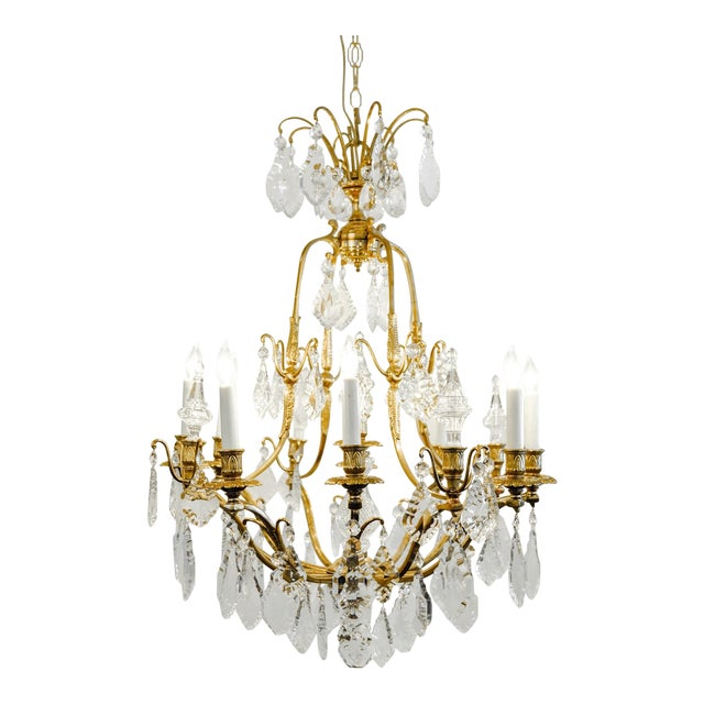 1920s Antique French Cut Crystal Eight Arm Chandelier For Sale