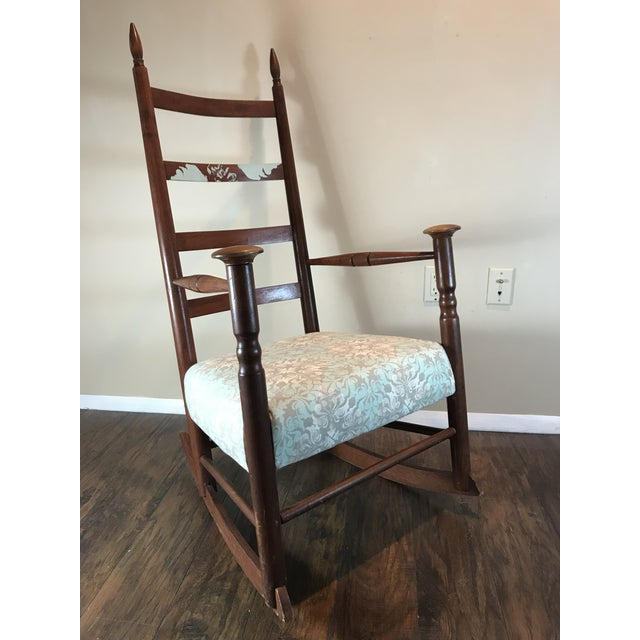 Traditional Antique Reupholstered Shaker Rocking Chair For Sale - Image 3 of 3