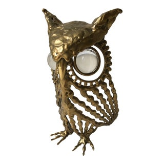Vintage Brass Owl With Glass Eyes For Sale