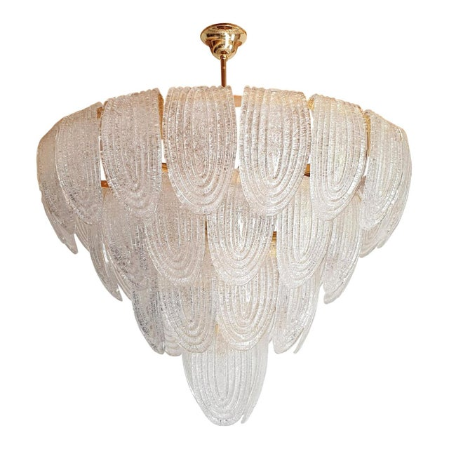 Large Mid-Century Modern Murano Glass Chandeliers by Mazzega For Sale - Image 12 of 12