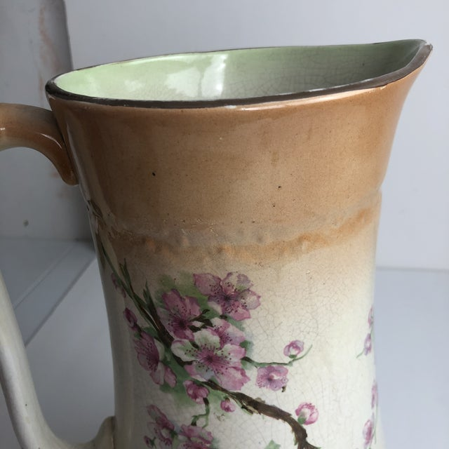 Hand Painted Floral Pitcher For Sale - Image 10 of 13