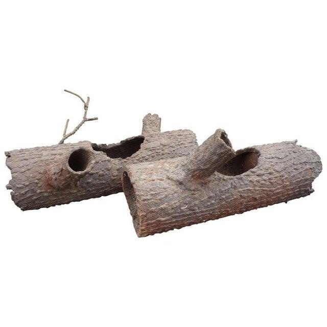 Iron Faux Bois Log Sculptures-A Pair For Sale - Image 11 of 12