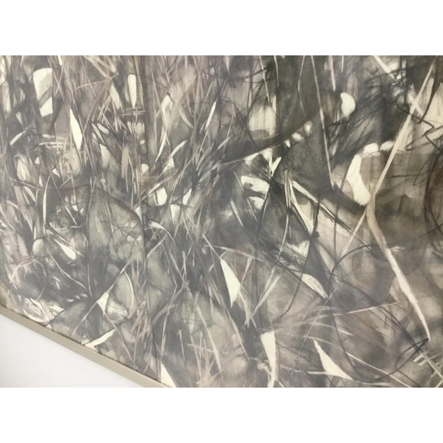 Large Format Framed Abstract Ink and Charcoal Drawing For Sale In Providence - Image 6 of 13