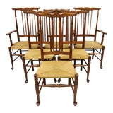 Image of Vintage Spindle Back Cherry Wood Rush Seat Queen Anne Colonial Dining Chairs- Set of 6 For Sale