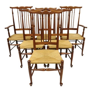 Vintage Spindle Back Cherry Wood Rush Seat Queen Anne Colonial Dining Chairs- Set of 6 For Sale