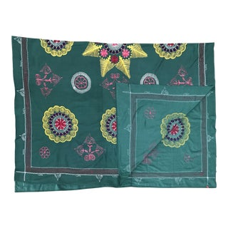 Vintage Suzani Green Textile For Sale