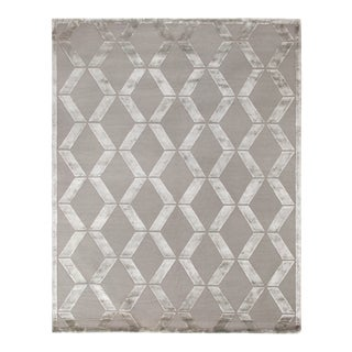 Vera Hand-Knotted Wool/ViscoseSilver Rug - 14'x18' For Sale