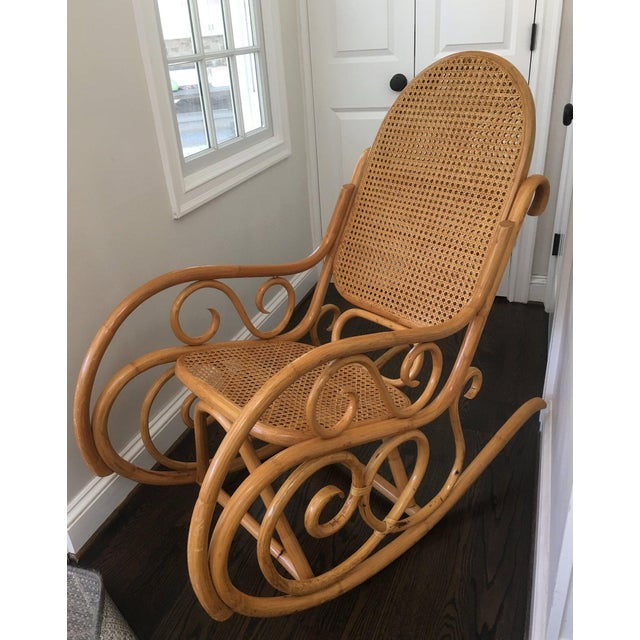 Mid-Century Boho Chic Bentwood Bamboo Rocking Chair For Sale - Image 10 of 10