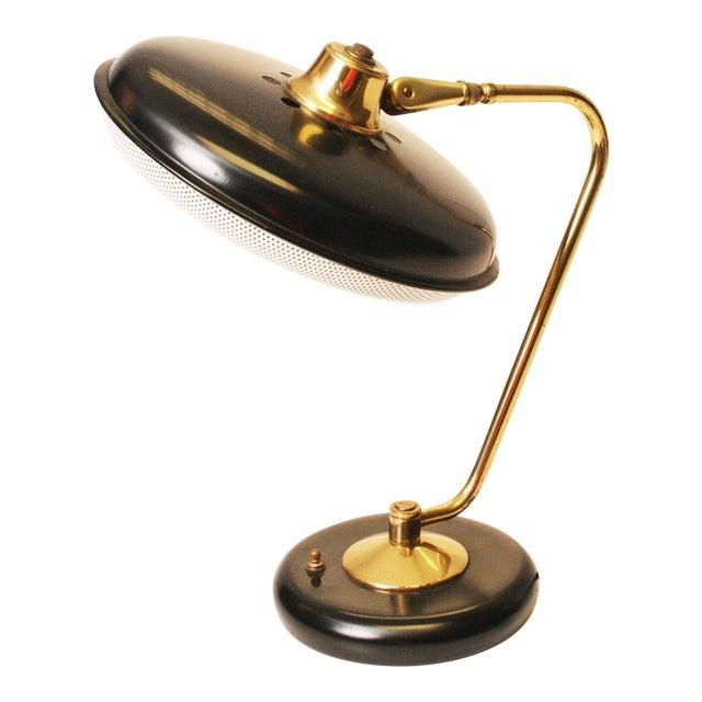 mid century black gold saucer desk lamp chairish