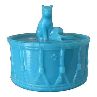 1914 French Portieux Cat on Drum Covered Sugar Dish