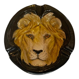 Mid-Century Italian Glazed Ceramic Lion Ashtray For Sale