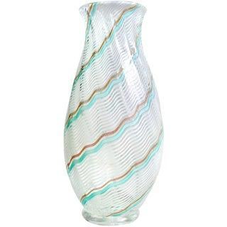 Dino Martens Aureliano Toso Murano Blue White Italian Art Glass Flower Vase For Sale