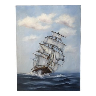 Mid-Century Sailboat Ship Painting