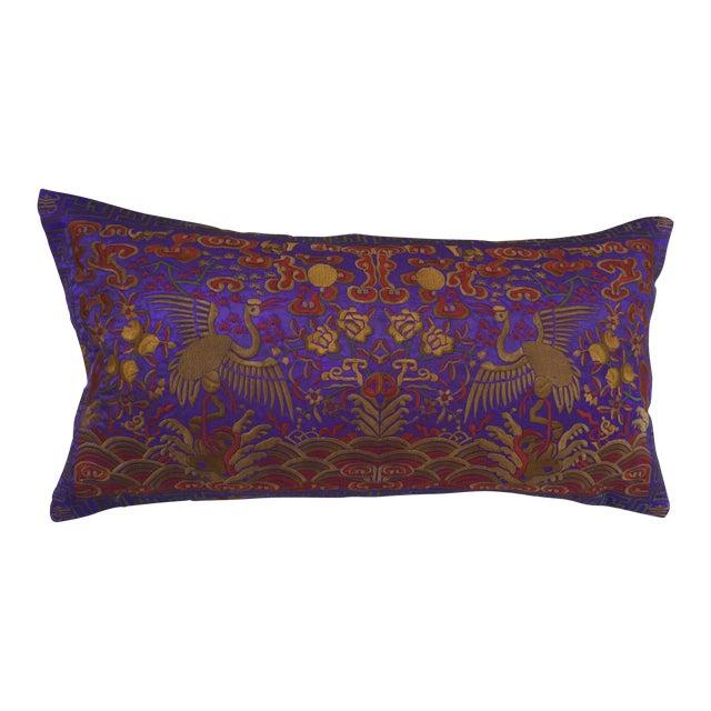 Vintage Lilac Silk Crane Boudoir Pillow For Sale