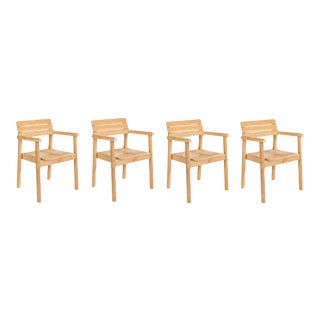 Modurn Teak Outdoor Dining Stackable Armchair (Set of 4) For Sale