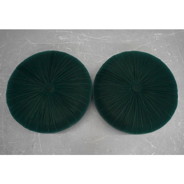 Antique Emerald Green Velvet Round Button Pleated Ottomans - A Pair For Sale - Image 4 of 7