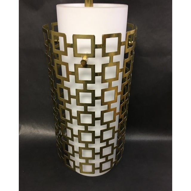 Cylinder Pendant Light With Brass Fretwork - a Pair For Sale - Image 4 of 8