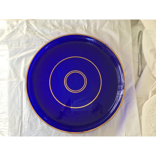 Antique Crystal Cobalt Blue Gallery Tray For Sale - Image 4 of 7