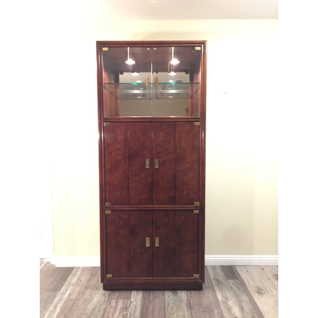 Brass Henredon Campaign Wall Unit W/ Curio Display Cabinets, Bookshelves and Dual Door Cabinet - 4 Pc. Set For Sale - Image 7 of 13