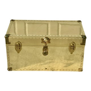 1970s Hollywood Regency Dresher Brass and Cedar Lined Trunk For Sale