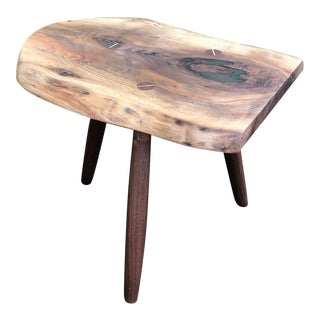 Scandinavian Style Live Edge Walnut Side Table For Sale
