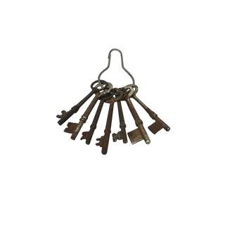 Antique French Skeleton Keys, Set of 7 For Sale
