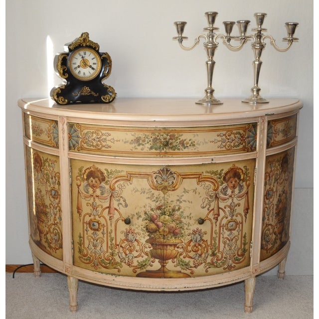 French Painted Demilune Cabinet C. 1940 For Sale - Image 7 of 7