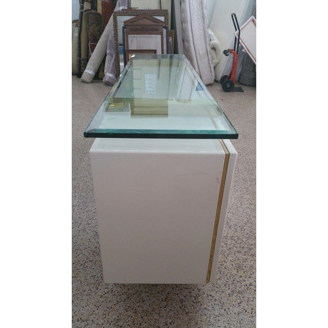 Lacquer & Brass Sideboard Floating Glass Top For Sale In Miami - Image 6 of 12