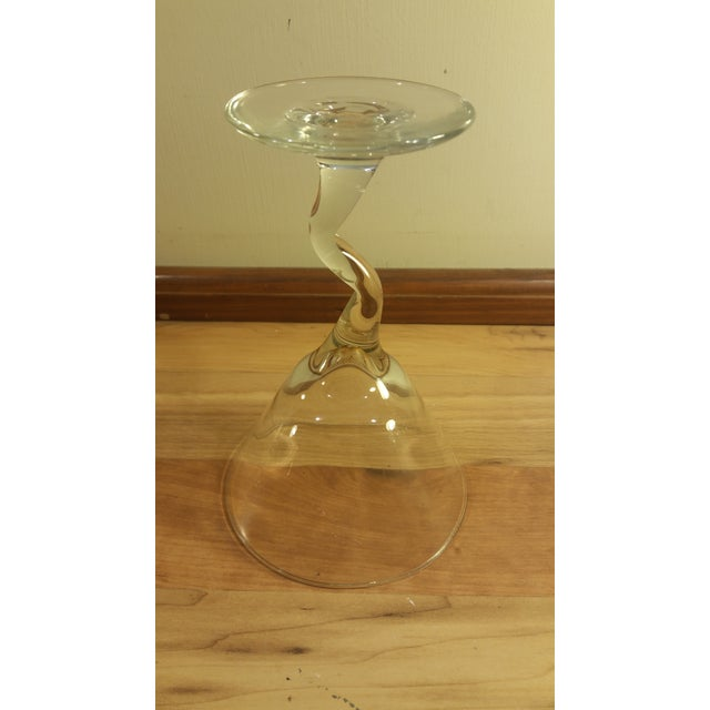 Glass Zig Zag Stem Wine Glasses - A Pair For Sale - Image 5 of 5