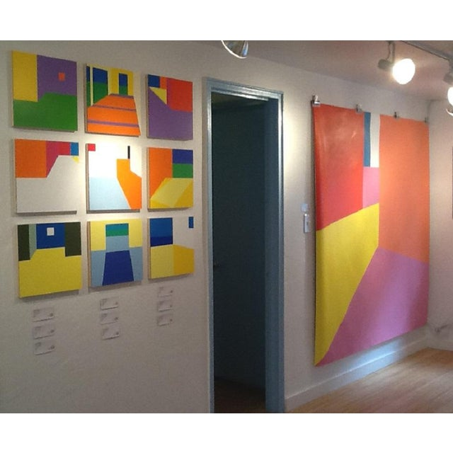 "Martha Hughes ""Scene 149"" , Geometric, Interior Space, Acrylic , Painting , Yellow, Purple, Red, Pink, Blue For Sale In New York - Image 6 of 7"