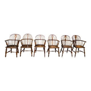19th Century English Windsor Chairs- Set of 6 For Sale