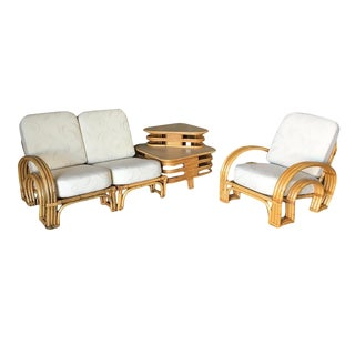 "Restored ""Double Horseshoe"" Rattan Sofa, Table and Chair Living Room Set - 3 Pc. For Sale"