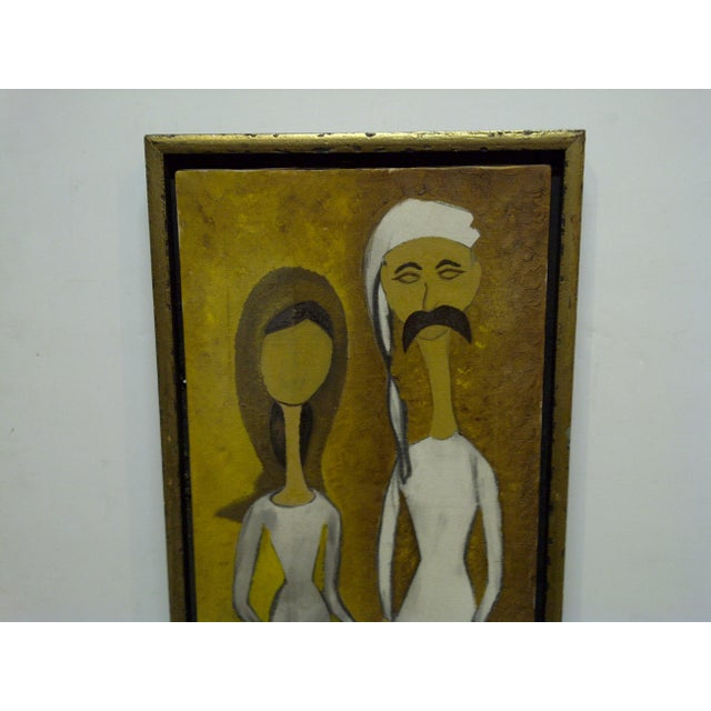 "This is an Original Framed Painting On Canvas -- Titled ""Man & Wife"" -- The Artist Is Unknown."