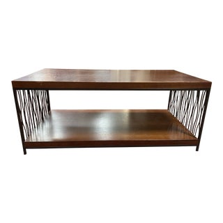 1990s Mahogany and Black Iron Two Tier Coffee Table For Sale