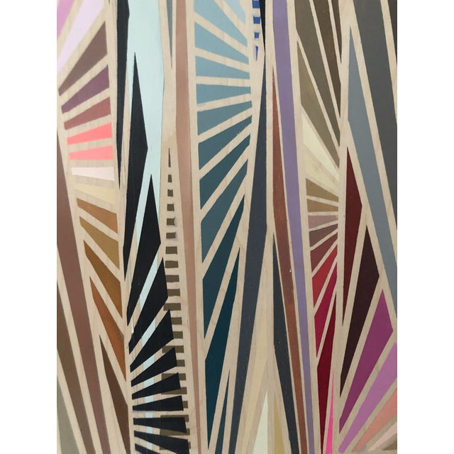 Hard-Edged Abstract Architectural Original Acrylic on Wood Painting For Sale In New York - Image 6 of 6