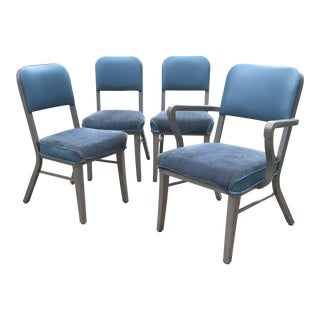 Steelcase Aqua Blue Heavy Vinyl Chairs - Set of 4 For Sale